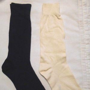 Vintage 2 Pc Soft Black Cream Dressy Socks